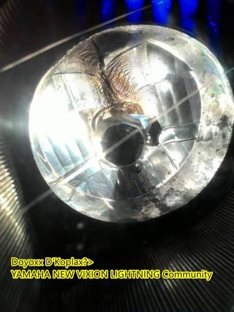 headlamp yamaha new vixion leleh kerane bohlam warna putih watt besar