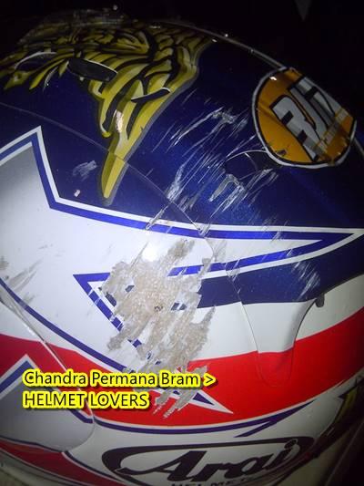 helm Arai bekas Kecelakaan Di sentul 0