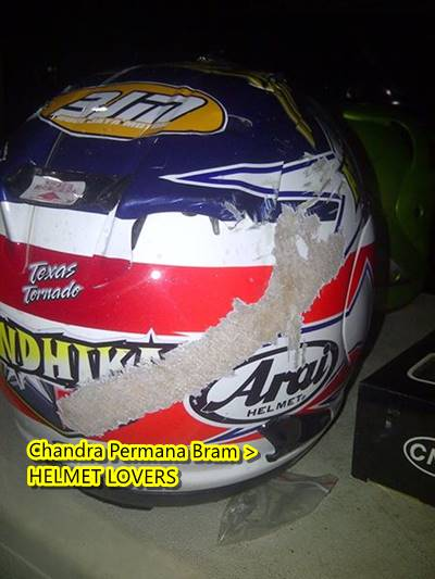 helm Arai bekas Kecelakaan Di sentul 1