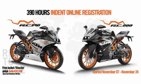 indent online KTM RC390 dan RC200 dibuka selama 390 jam