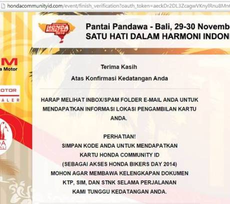 Konfirmasi kedatangan honda bikers day 2014 5