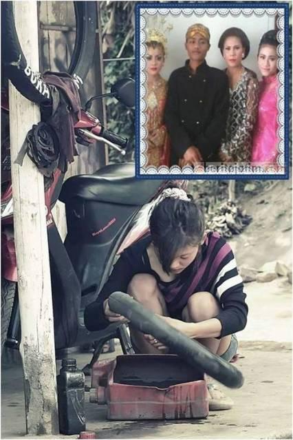 Nanik Cewek Cantik Penambal ban di Malang sudah menikah ternyata seorang yatim