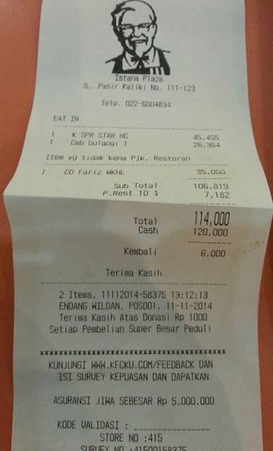 penipuan Cerita Konsumen Tertipu KFC Istana Plaza Bandung dengan modus CD Fariz RM price atas