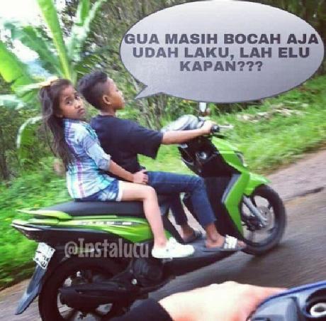 bocah bawah umur naik motor