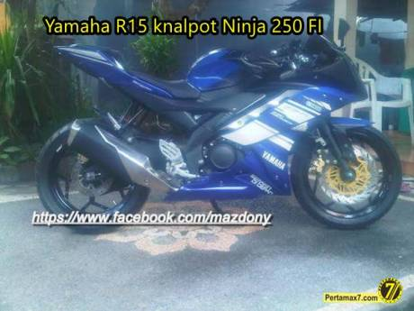 Modifikasi yamaha r15 pakai knalpot kawasaki ninja 250 FI3