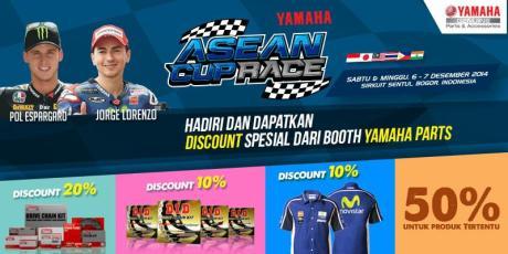 Yamaha Indoensia tebar diskon Sparepart aksesoris dan apparel di Asean Cup race Sentul 2014