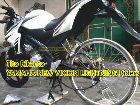 yamaha new vixion pakai ban sepeda ontel balap