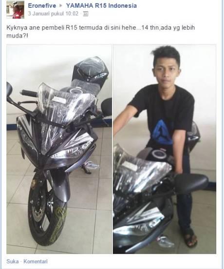 bocah 14 tahun beli sendiri yamaha R15