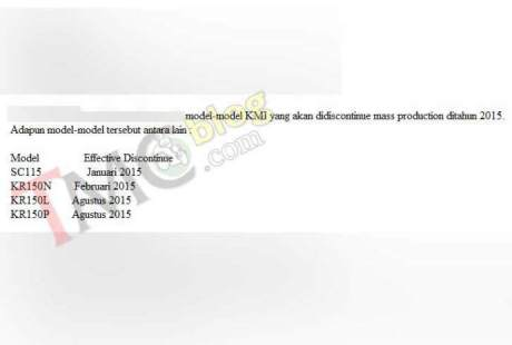 list produk kawasaki discontinued