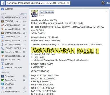 Nama Iwanbanaran di catut untuk jualan motor tanpa bpkb 2