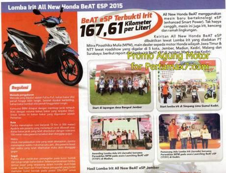 Honda Beat eSP tembus 167,61 KM Per Liter Pertamax
