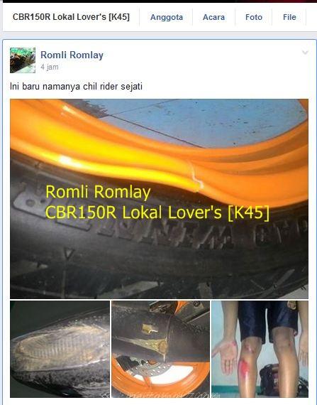 velg Honda CBR150R pecah hajar lubang kecelapatn tinggi kaki kegerus aspal 003