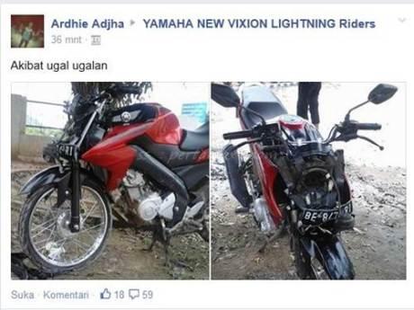 Yamaha New Vixion Ban cacing Ugal-ugalan Nggak bisa ngerem tabrak mobil 001 Pertamax7.com