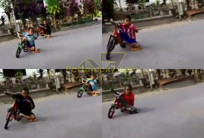 Aksi bocah Sulawesi Cornering pakai Ontel sampai Knee Down nampak Asyik Sekali !