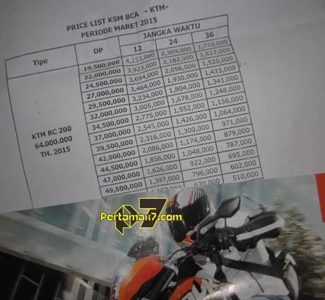 harga dan simulasi kredit ktm rc200 jawa tengah