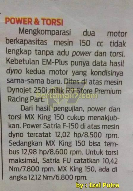 Power Yamaha Jupiter MX king 150 kalahkah Suzuki Satria F diatas dynotest