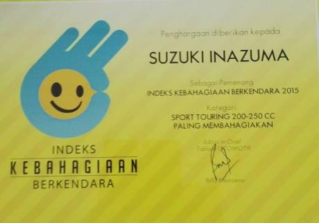 Suzuki Inazuma diganjar Sebagai Motor Sport Touring Paling Membahagiakan kelas 250