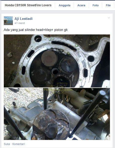 honda CB150R turun mesin karena baut masuk ruang bakar