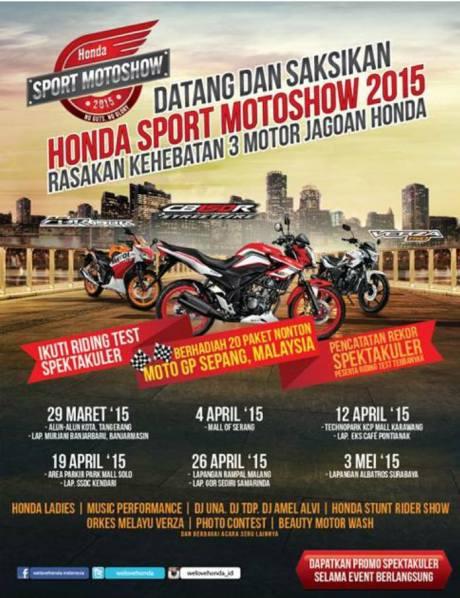jadwal honda sport motorshow 2015 Indonesia sapa 10 kota