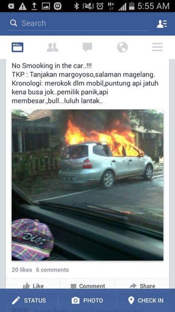 nissan grand livina terbakar di magelang akibat sopir merokok dalam mobil