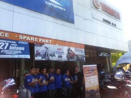 Peserta Tour de Soul naik All New Soul GT 125 di dealer Yamaha Bisma Sunset Road Denpasar Bali