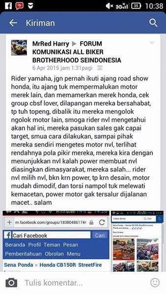Rider Yamaha Jangan Ikut Ajang Roadshow Honda  001 Pertamax7.com