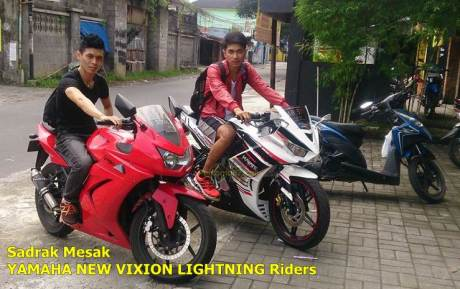 yamaha new vixion modip fairing R25 jejer dengan kawasaki ninja 250 karbu