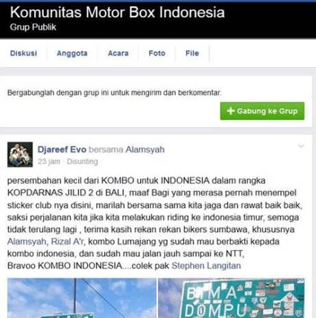 Aksi Komunitas Motor Box Indonesia bersihkan Papan Petunjuk Jalan dari Stiker Klub Motor ini Positif, Lanjutkan 00 pertamax7.com