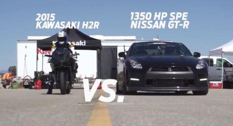 kawasaki ninja H2R VS Nissan GT-R