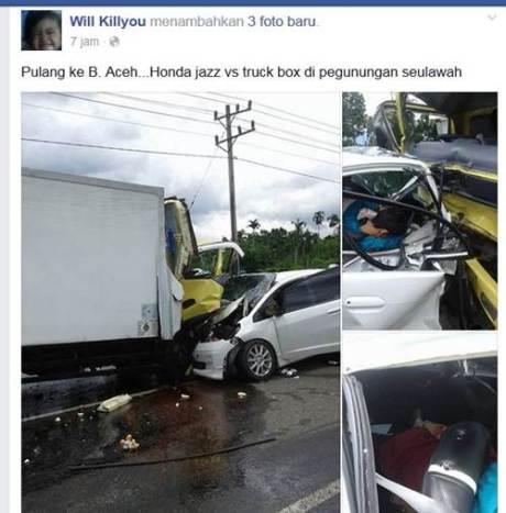 kecelakaan honda jazz vs truk utamakan penggunaan seat belt
