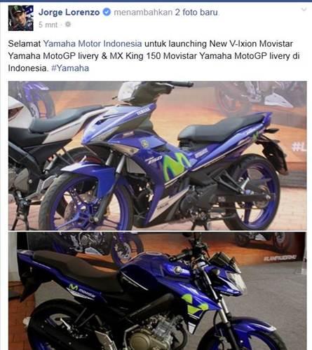 lorenzo ucapkan selamat atas lahirnya yamaha new vixion advance dan jupiter mx king movistar yamaha motogp