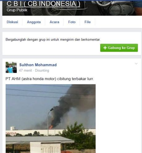 pabrik AHM cibitung bekasi terbakar