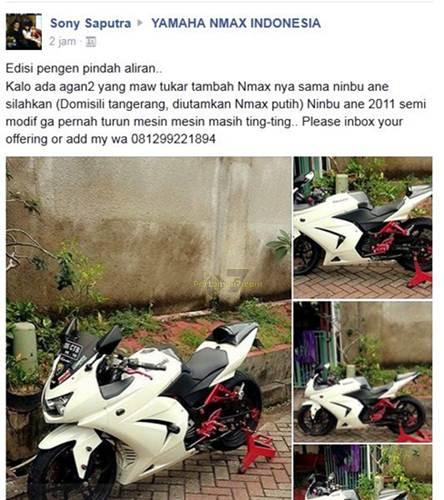 Pindah Aliran Bikers ini mau Tukar Kawasaki Ninja 250 karbu ganti Yamaha Nmax