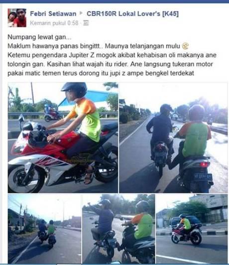 rider yamaha R15 bantu step jupiter z yang mogok karena kehabisan oli