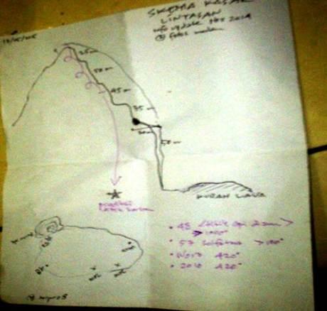 sketsa tebing kawah gunung merapi