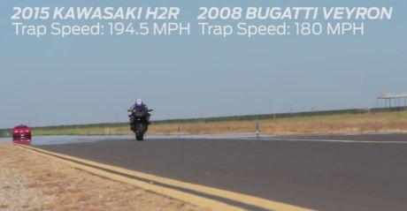 topspeed kawasaki ninja H2R VS Bugatti veyron