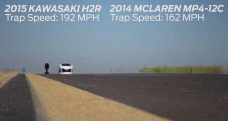 topspeed kawasaki ninja H2R VS McLarenMp4-12c