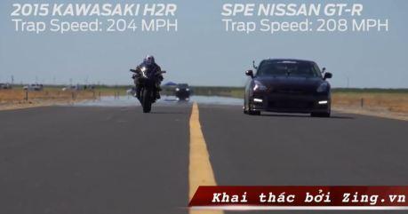 topspeed kawasaki ninja H2R VS Nissan GT-R