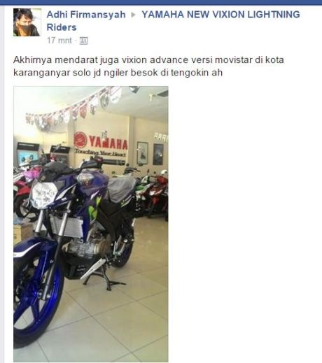 yamaha new vixion advance 2015 motogp movistar sudah sampai karanganyar jawa tengah