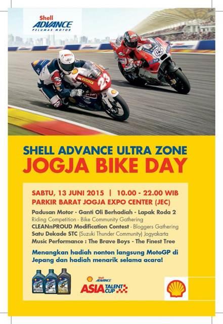 Ayo Ramaikan Shell Advance Ultra Zone Jogja Bike Day 2015, banyak hadiah om
