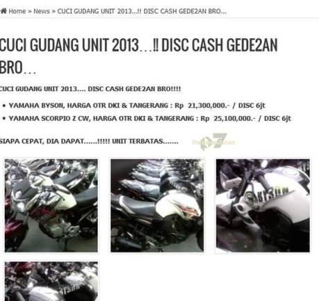 cuci gudang yamaha byson dan scorpio rakitan 2013 diskon Rp.6 juta