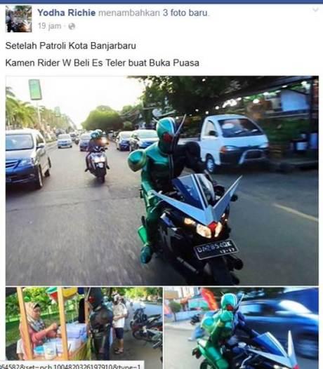 Kamen Rider Keliling Banjarbaru Kalsel naik Honda CBR150R cari takjil 01 pertamax7.com