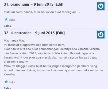 komentator pertamax7.com kecewa tidak dapat barang diskon cuci gudang yamaha byson dan scorpio Rp.6 juta 06Pertamax7.com
