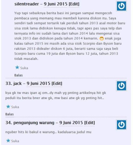 komentator pertamax7.com kecewa tidak dapat barang diskon cuci gudang yamaha byson dan scorpio Rp.6 juta 07Pertamax7.com