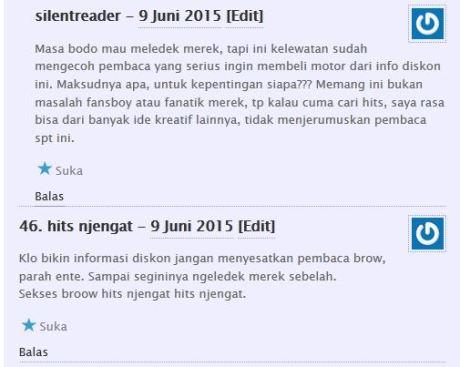 komentator pertamax7.com kecewa tidak dapat barang diskon cuci gudang yamaha byson dan scorpio Rp.6 juta 12Pertamax7.com