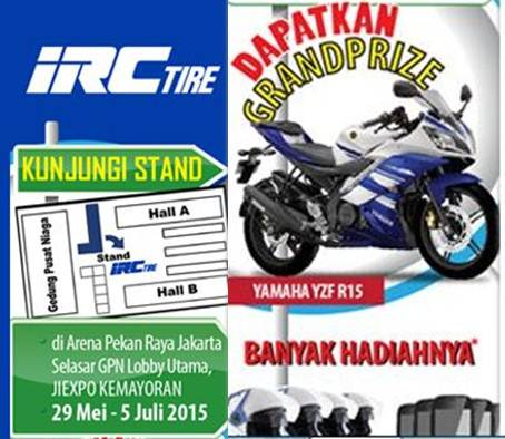 Main Ke Stand IRC Pekan raya Jakarta 2015 dapatkan Grandprize yamaha R15 dan banyak hadia