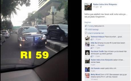 Mobil Pejabat RI-59 Lawan Arus Lagi Heboh di Sosmed