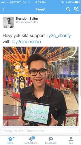 Support Brandon Salim untuk campaign online charity Y2C (Yamaha Youth Company)