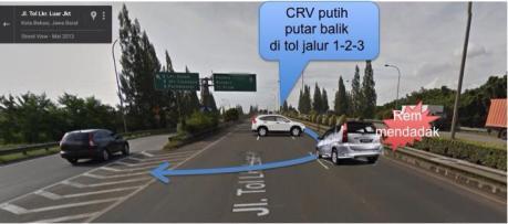 honda crv putar arah di jalan tol JORR membahayakan orang lain pertamax7.com