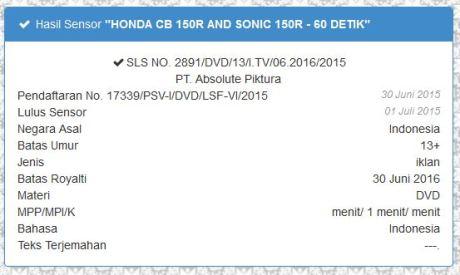 Iklan Honda Sonic 150R dan CB150R facelift 2015 lolos lembaga Sensor Film, indikasi kuat Lahir bareng  pertamax7.com